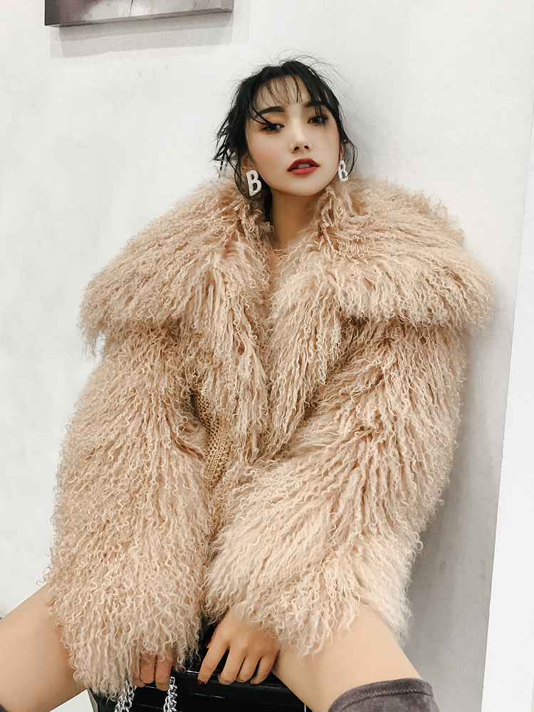 Rf0300 Full Pelt Natural Mongolian Sheep Fur Coat Super Warm Long Sleeve Hight Street Fashion Real Fur Coat Women