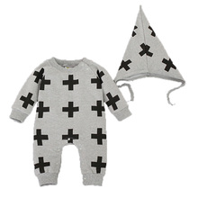 2017 Organic cotton Baby Boys Rompers Long Sleeve +Hat Two-piece cape cross-piece Jumpsuits  Cartoon Newborn Baby Clothes T4551