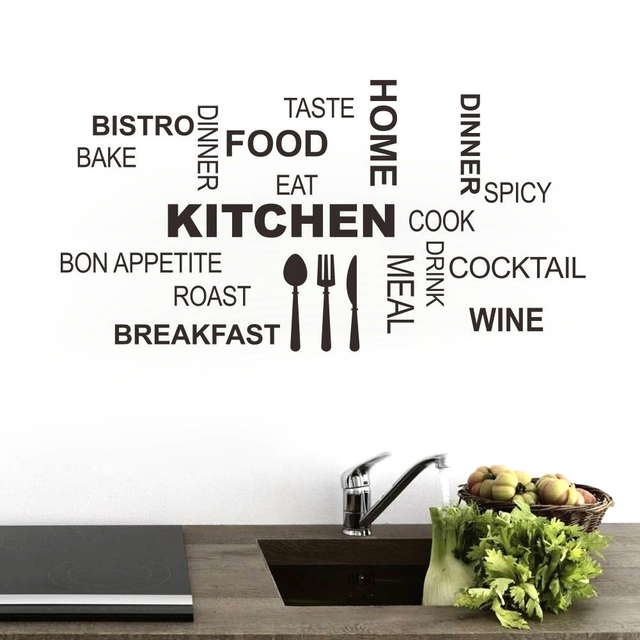 Letters KITCHEN Wall Stickers Words About Home Eating Kitchen Living Room  Bedroom Wall Stickers Home Decal