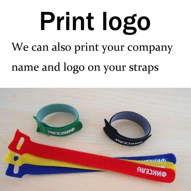 Colored Velcro cable tie Logo Printed 12MM X 150MM nylon strap Power ...