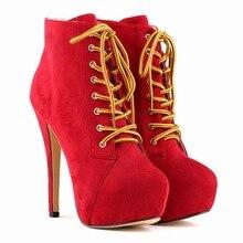 2015 Mujeres de Moda Las Botas Botas Militares Hombre 14 CM Tacones Altos nuevo Llega Barato Modest Elegante Botines Con Cordones En Stocks