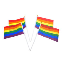 200pcs/lot Hot Sell the Small Rainbow flag 14*21CM Gay Pride Hand Flag the hand waving flag with Pole Bisexual LGBT Flag(China)