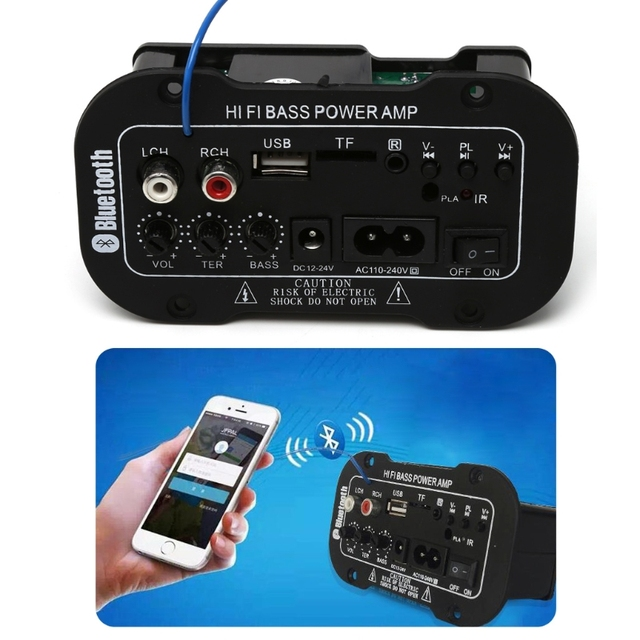 25W Car Bluetooth Subwoofer Hi-Fi Bass Amplifier Board Audio TF USB 220V/12V/24V