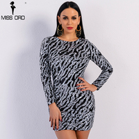 Missord 2018 Sexy Spring And Summer O Neck Long Sleeve Sequin Dress Female Elegant Bodycon Party