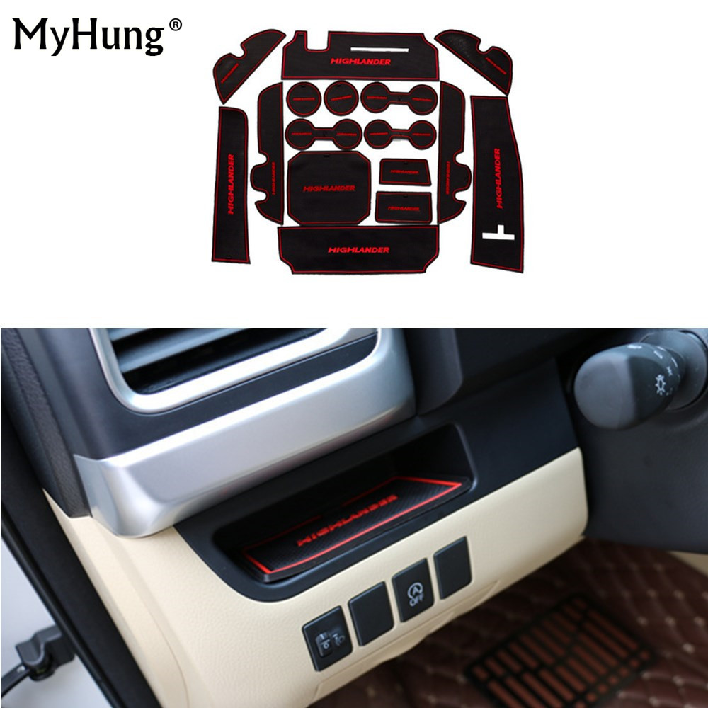 For Toyota Highlander 2015 Anti-Slip Car Rubber Door Slot Latex Gate Groove Non-Slip Mat Interior Cup Cushion Car-Styling 16pcs