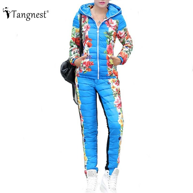 56c230de4f807 TANGNEST Casacos Femininos 2016 Winter Coat Suit Floral Printed Patchwork  Slim Warm Thick Hooded Parka (