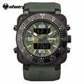 INFANTRY Top Brand Men Watch Sports Military Watches Dual Time Quartz Digital Rubber Strap Wristwatches Camouflage Dial