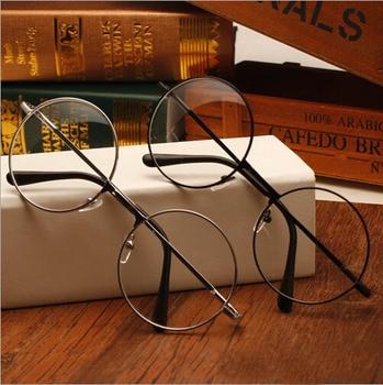Glasses Frame Plain Mirror Big Round Metal Optical Frame For Girl Eyeglass Clear Lens 1