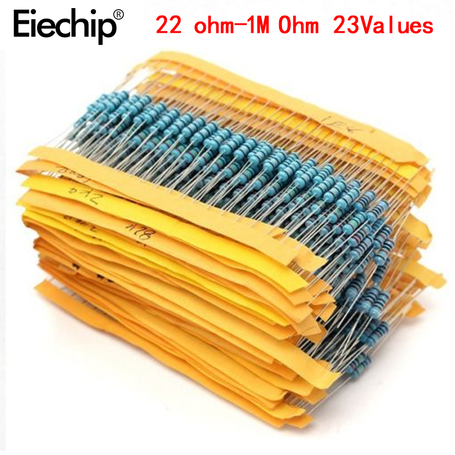 230pcs 2W Metal Film Resistors 22R-1M 23 Value 2W Resistor Package 1% 23 Kinds Of Commonly Resistance Resistor Kit 22ohm-1Mohm