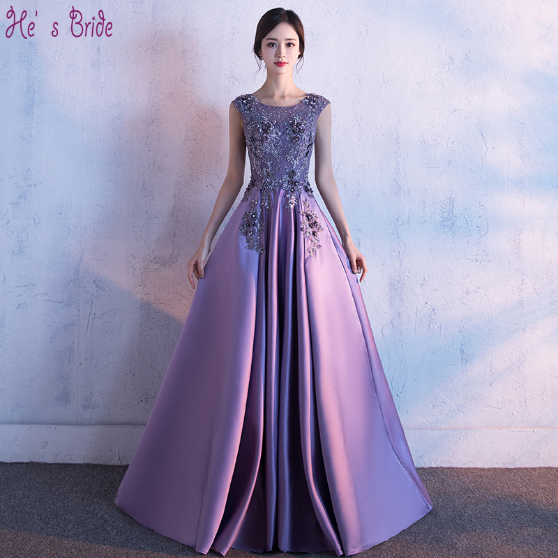 He's Bride  New Luxury Purple Satin Lace Evening Dress The Bride Banquet Elegant Appliques Prom Formal Dress Robe De Soiree