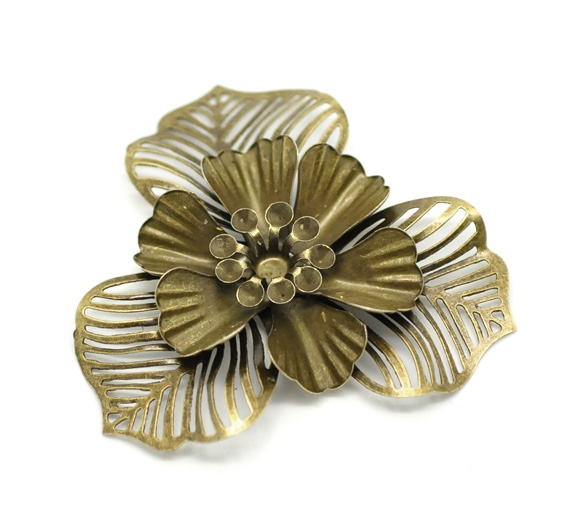 DoreenBeads Alloy Embellishments Findings Flower Antique Bronze 4.7cm(1 7/8