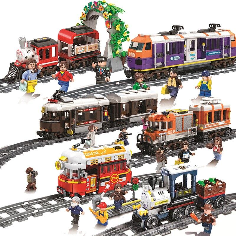WINNER 5090 923PCS Swiss Classic City Train Rail Building Blocks Passenger Steam Train Compatible Model Building Bricks Toy Gift