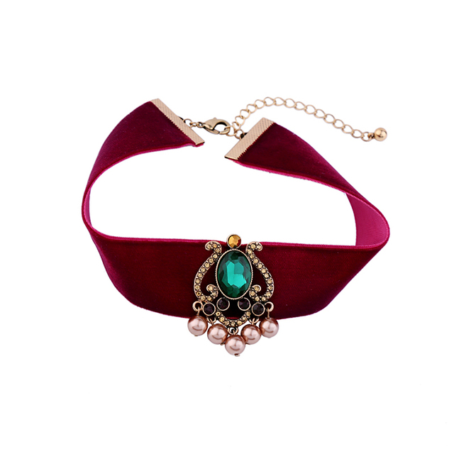 Bulk Price 2017 Trendy Velvet Choker Necklace Wide Red Ribbon Vintage Retro Graceful Green India Style Collar