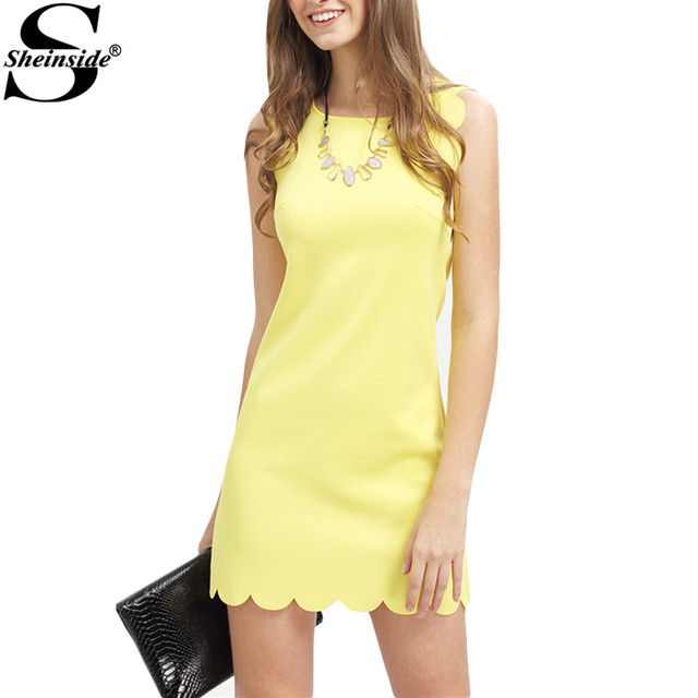 Sheinside Women 2016 Summer Fitness Dresses For Woman New Ladies Royal Yellow Sleeveless Crew Neck Scallapped Hem Mini Dress