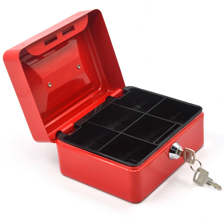 Behogar 6 polegada metal lockable dinheiro dinheiro moeda armazenamento seguro caixa de segurança titular mala com chave de bloqueio 6 compartimento bandeja vermelho