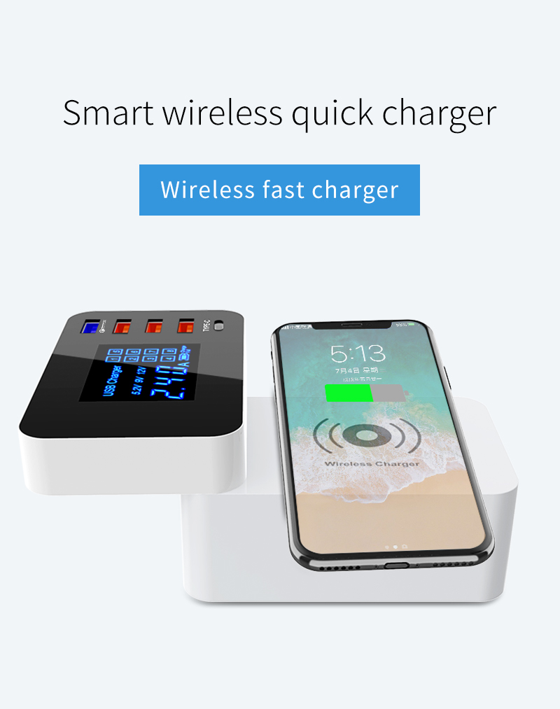 Quick Charge 3.0 Smart USB Type C Charger Station Led Display Fast Wireless Charger (1)