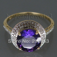 New Vintage Round 10x10mm 14Kt Yellow Gold Natural Amethyst Ring WR0015