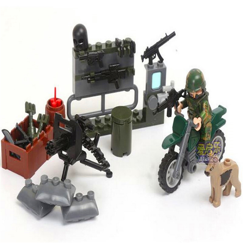 Image 5 - GUDI 8009 4 In 1 Military Firewar UAV Boat Outpos Soldier Lookout Dog Building Blocks Brick Set Compatible Playmobil Toys-in Blocks from Toys & Hobbies