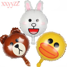 XXYYZZ 16 inch Cartoon bear rabbit Foil Balloons Inflatable Helium Balloon Classic Toys Wedding Happy Birthday Balloons Party стоимость