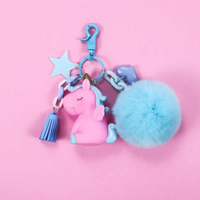 2019 แฟชั่นเครื่องประดับร้อนขายน่ารัก Unicorn พวงกุญแจสัตว์ PVC พวงกุญแจผู้หญิงกระเป๋า Charm กุญแจจี้ของขวัญคุณภาพสูง