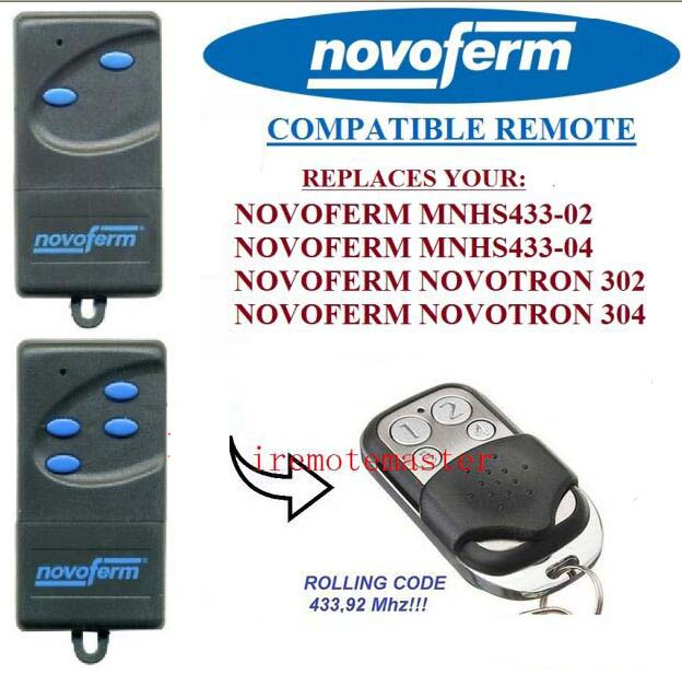 NOVOFERM NOVOTRON MNHS433-02/MNHS433-04 remote control replacement 433,92mhz Rolling code seip 433 rc am replacement remote control 433 92mhz
