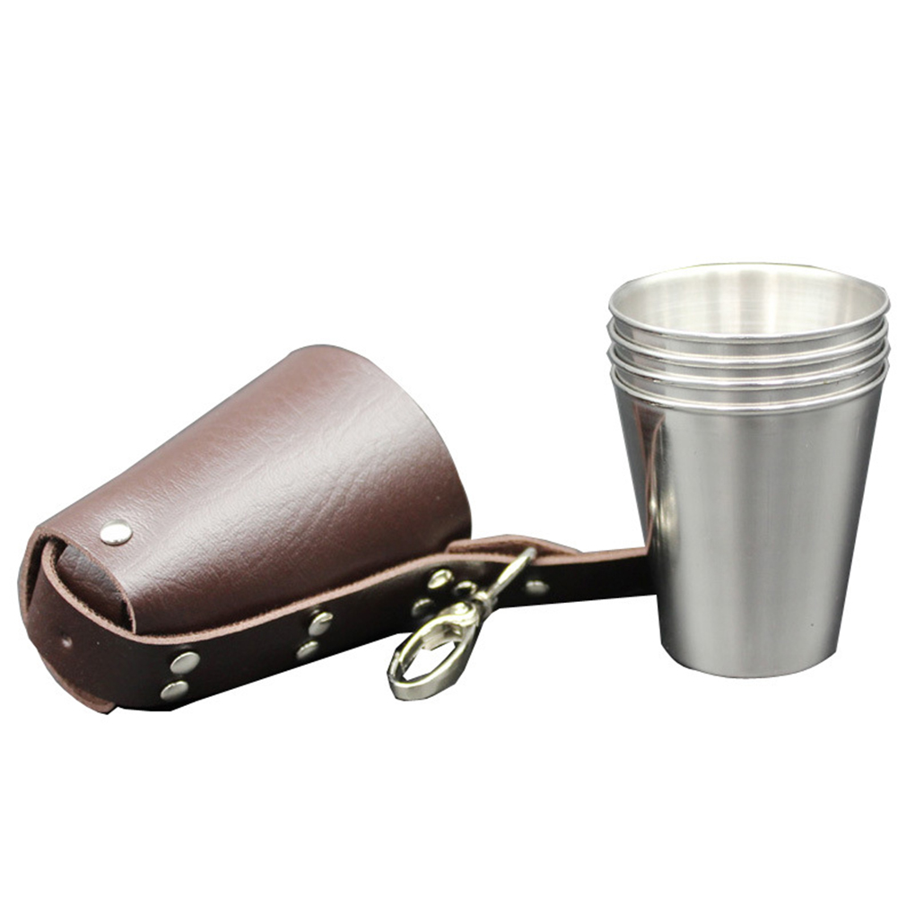 4pcs 70ml Stainless Steel Wine Glasses Portable Beer Key Chain Outdoor Cup Camping Whiskey Travel Set Portable Cup Set