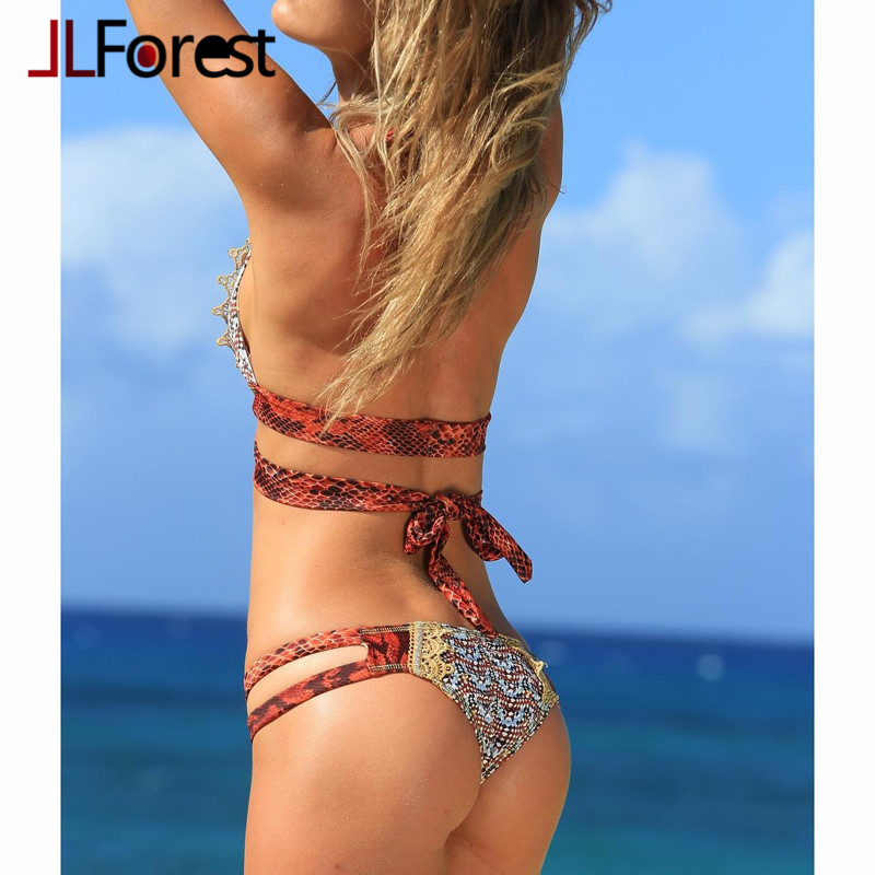JLFOREST Serpentine Sexy Push Up Bikinis Bohemia Indian Swimsuit Women  Halter Strappy High Waist Swimwear Bathing Suit Biquini-in Bikinis Set from