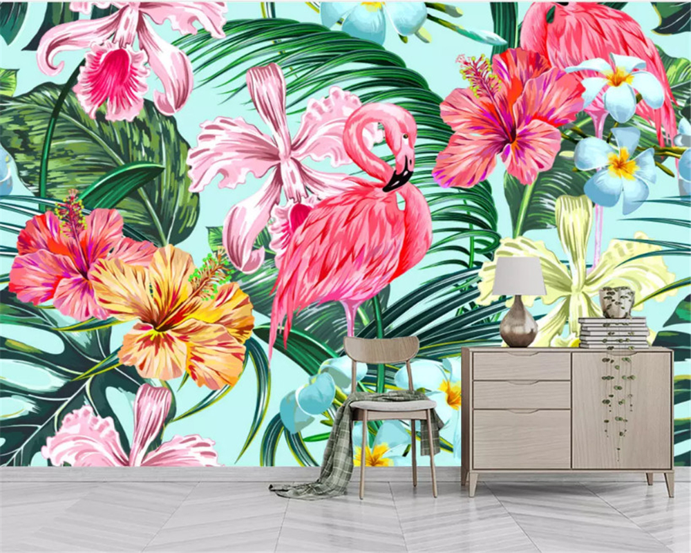 Beibehang 2019 New Stereoscopic Wall Paper North European Abstract Hand Painted Flamingo Banana Leaf TV Background 3d Wallpaper