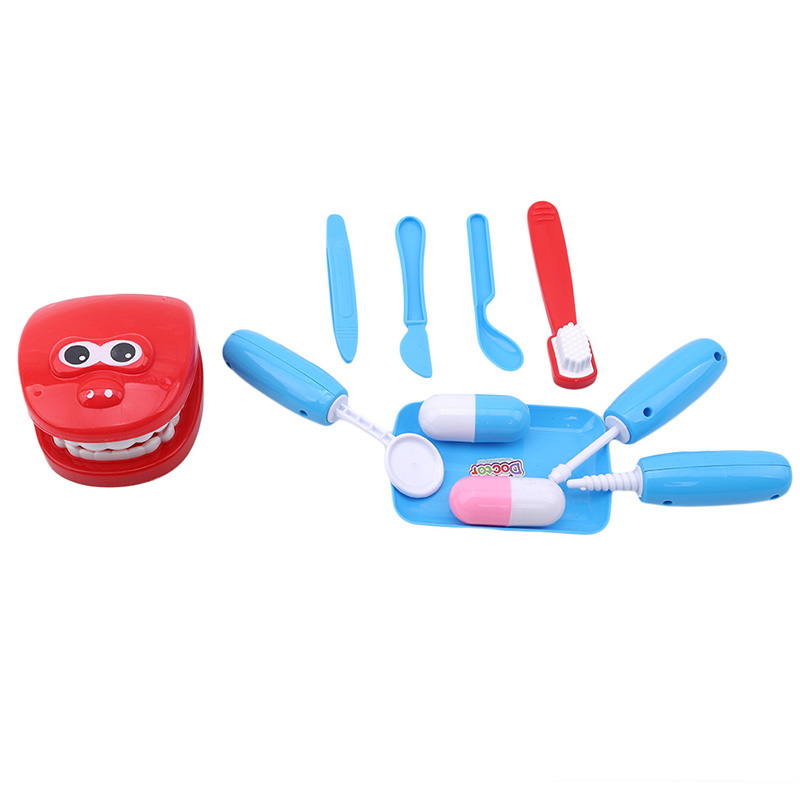 1 Juego de juguetes de educación temprana para niños, casa de juego, Doctor, pequeño dentista, simulación de cepillado, juego de dentadura, juguete médico para bebé, bolso de mano Juguetes de madera para niños, juego de simulación de Doctor, Kit médico de inyección de enfermera, juego de rol, Juguetes clásicos, juguetes de simulación de Doctor para niños