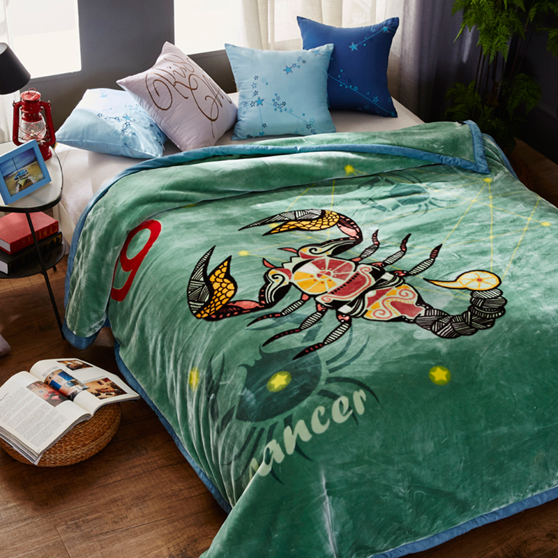 침대에 대한 부드러운 따뜻한 솜털 밍크 담요 12 별자리 인쇄 더블 레이어 겨울 두꺼운 담요-에서담요부터 홈 & 가든 의  그룹 2
