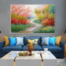 Palette Knife flower and tree painting Canvas acrylic abstract landscape Wall art Picture for living room home decor078
