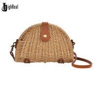 HIGHREAL Shell Design Straw Bags Summer Crossbody Beach Bag For Girl Rattan Flap Women Messenger Shoulder