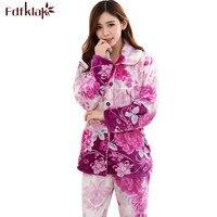 Fdfklak Womens Sleepwear Pajama Set Flannel Print Winter Pijama Family Pajama Set Warm Suit Women Plus