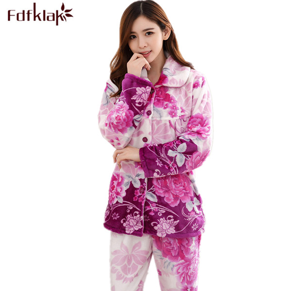 Fdfklak Womens Sleepwear   Pajama     Set   Flannel Print Winter Pijama Family   Pajama     Set   Warm Suit Women Plus Size L XL XXL 3XL Q516