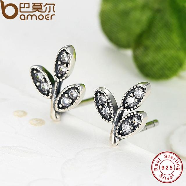 Sterling Silver Sparkling Leaves Stud Earrings