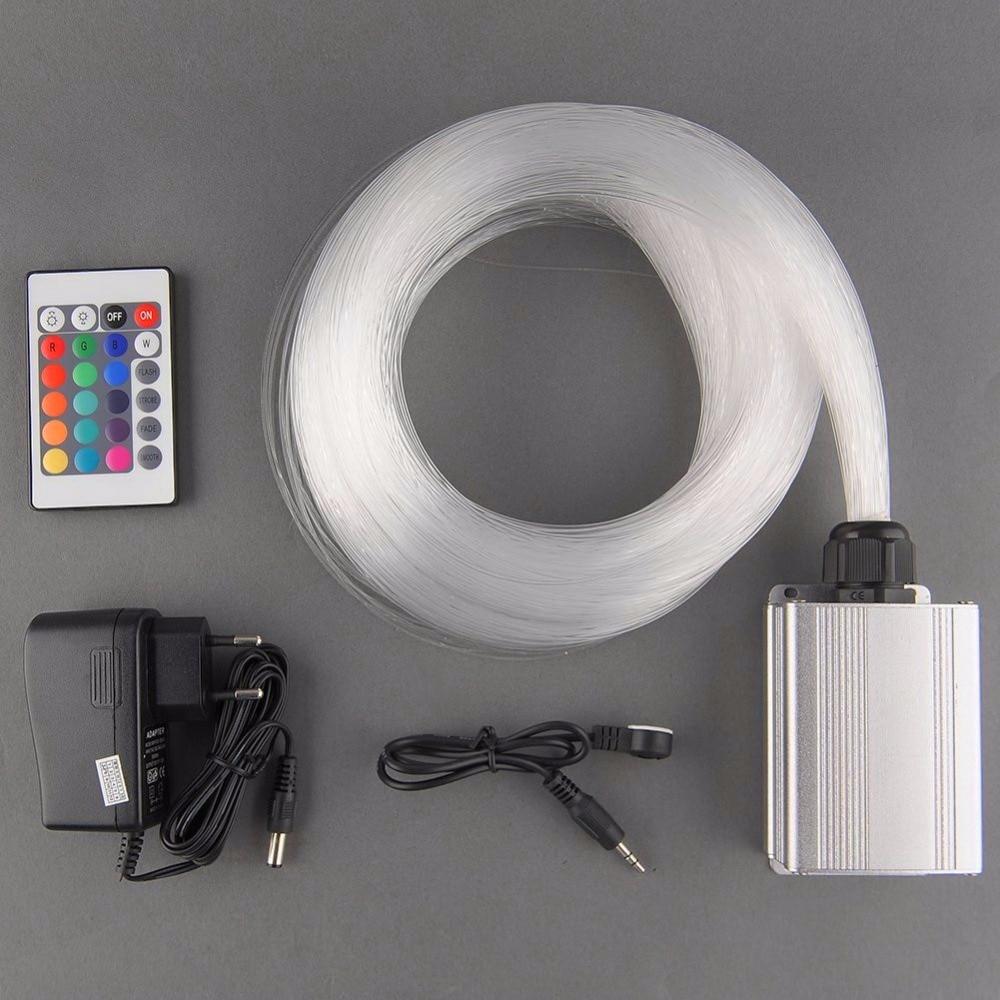 5 W RGB LEVOU motor de luz + 200 pcs 0.75mm 2 M de comprimento PMMA kit de fibra óptica brilho final + controle remoto IR 24key