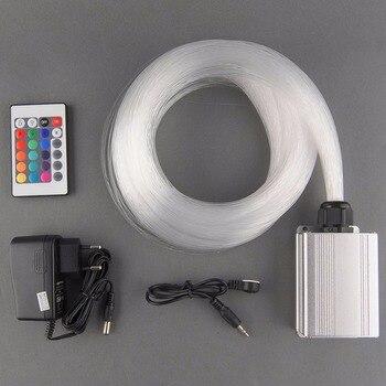 5 Watt RGB LED-licht Motor + 200 Stücke 0,75mm 2 Mt Langen Ende Leuchten PMMA Optical Fiber Kit + 24key Ir-fernbedienung