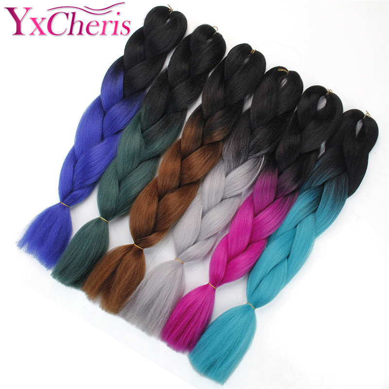 Hair Extensions & Wigs Dedicated Xtrend 8pcs Synthetic Jumbo Braids Crochet Hair 24inch Ombre Kanekalon Braiding Hair Extensions For Women Pink Green Purple Blue