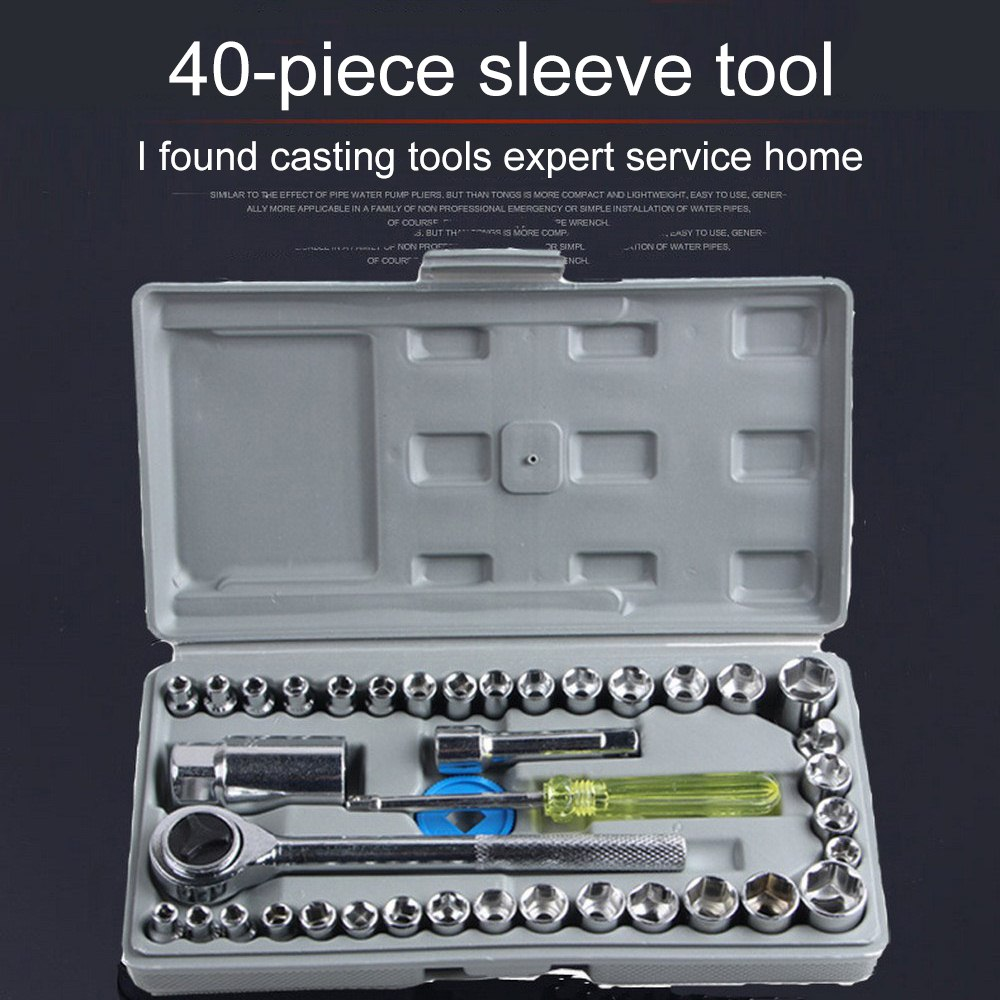 Image 4 - 40 Pieces/set Multifunctional Home Auto Repair Tools Car and Motorcycle Sleeve Combination Sleeve Wrench Screws Nuts Tools Kit