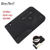 Okeytech良い品質3ボタンで挿入小さなキーブレードスマートカード用ルノーメガーヌ2明媚で7947チップ433 mhz車キ