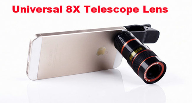 Universal clip 8x telescope lens mobile phone zoom lens adjustable
