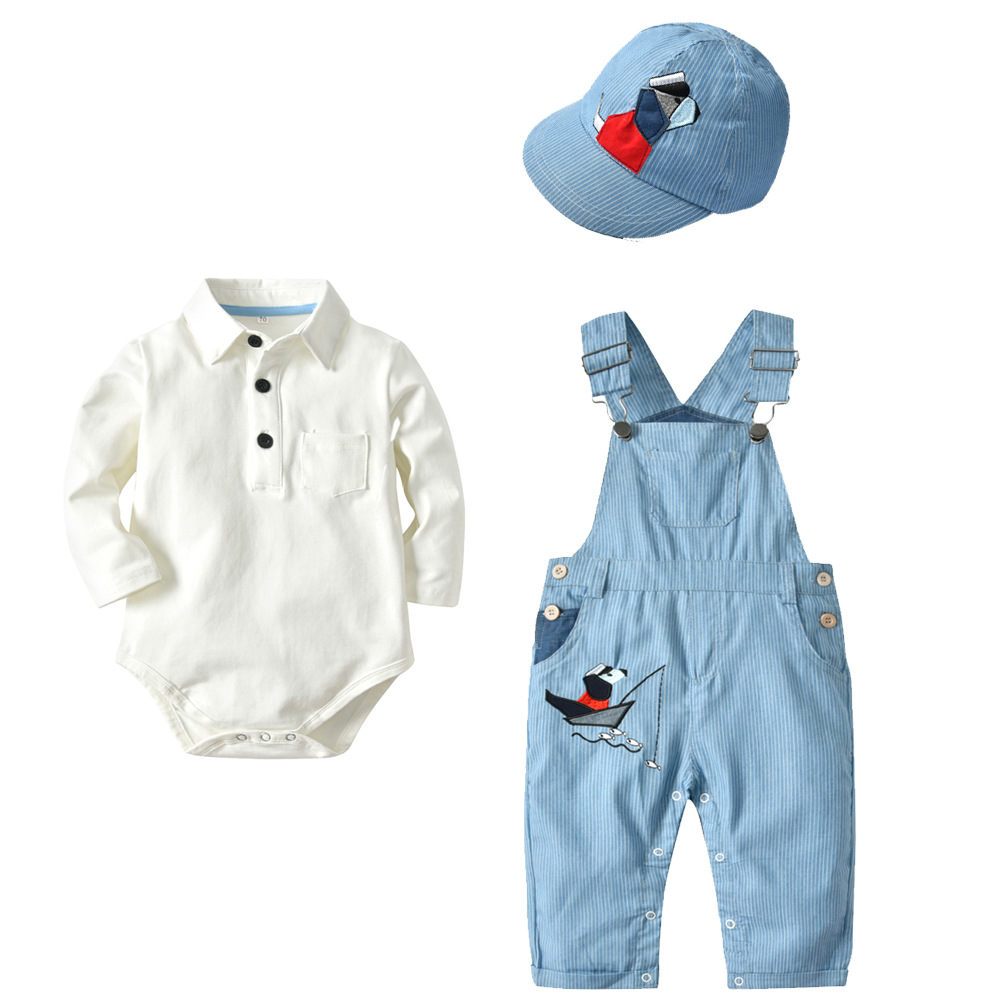 White Shirt overalls Cap 3PCS Suit Baby Boy Spring Causal Solid Clothing Kids Denim Overalls Boys Cartoon Printed Outfit in Clothing Sets from Mother Kids