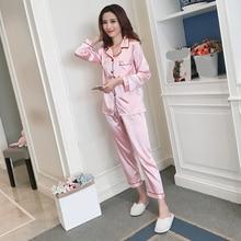 цены Women Silk Pajama Satin ladies Pajamas Sets Long Sleeves Turn-down Collar Pocket Decor with Button Top+Pants Women Silk Pajamas