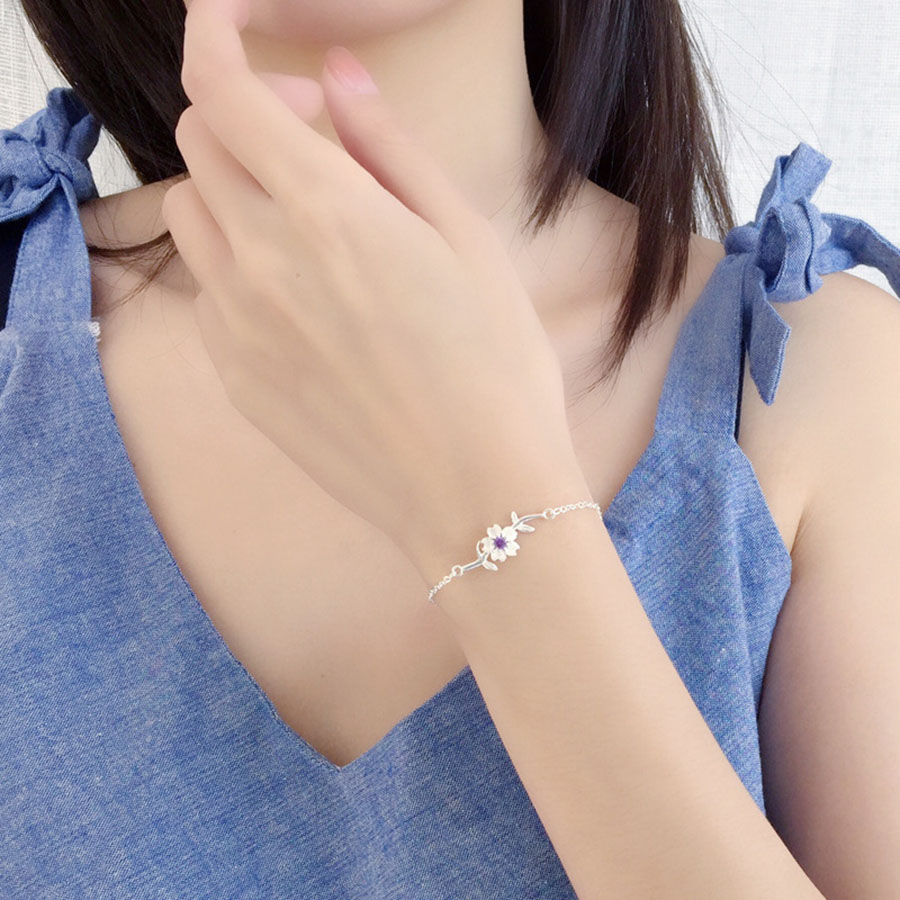 Fashion Jewelry Pink Purple Cherry Blossoms 925 Silver Adjustable Bracelets Crystal Flower Opening Bangles For Women Sweet Gift in Chain Link Bracelets from Jewelry Accessories