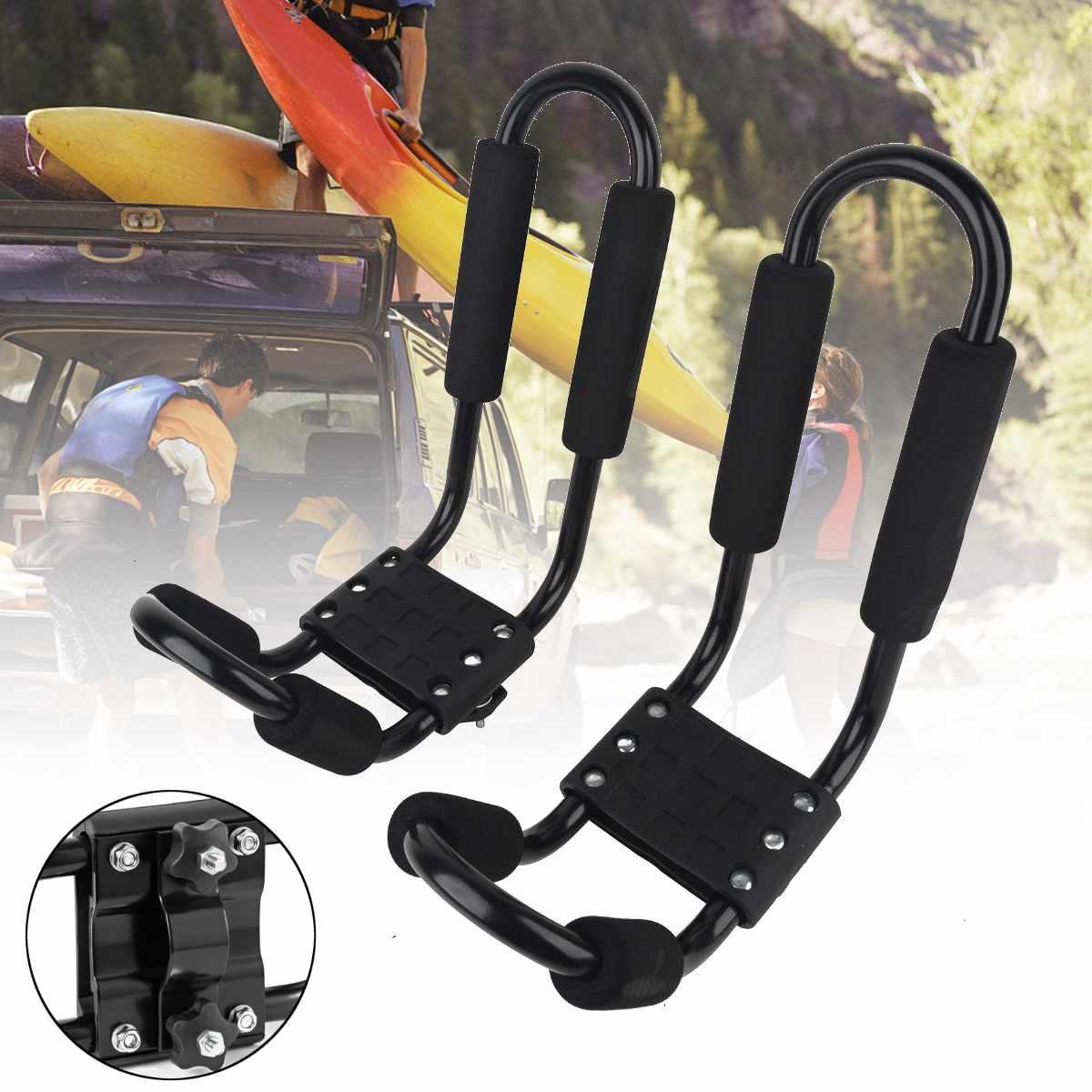 Folding Double J Bars Car Roof Rack Canoe Kayak Universal Carrier Straps Black