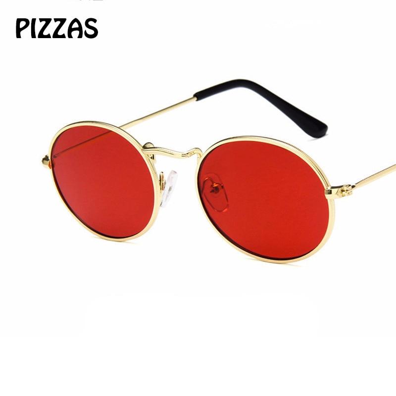 PIZZAS Retro oval Round Metal cute sexy female Sunglasses Women Eyewear Sun  glasses Fashion Brand Lens hd de sol red oculos -in Sunglasses from Apparel  ... e802db5427