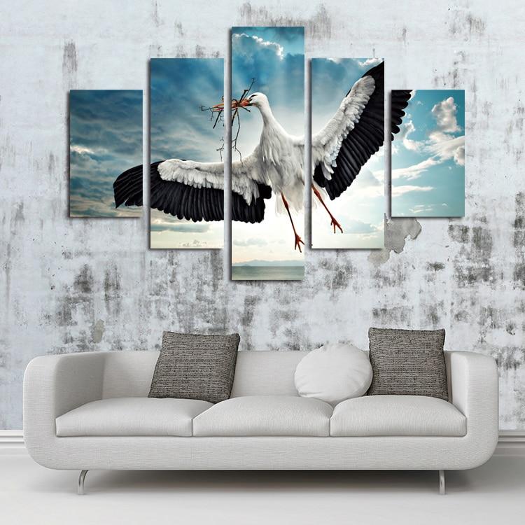 ⊱Unframed 5 paneles pared arte lienzo pintura Caza egrets cuadros ...