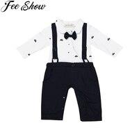 FEESHOW Navy Blue Baby Boys Gentleman Long Sleeves Bowtie One-piece Romper Jumpsuit SZ 6-24 Months