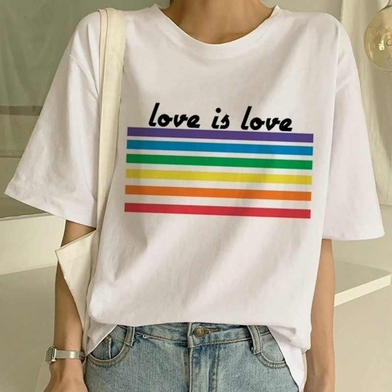 hahayule-XSX Love Is Love T-shirt <font><b>Women</b></font>&#<font><b>39</b></font>;<font><b>s</b></font> Pride Saying Gay Rights Equality Slogan Letters <font><b>Tshirt</b></font> Summer Cotton Tops image
