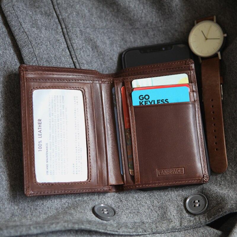 8308e0b00ae2 LANSPACE мужчины кошельки вертикальный узкий карман кошелек бренд кошельки  для монет держатели